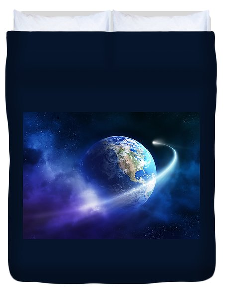 Comet Moving Passing Planet Earth Duvet Cover by Johan Swanepoel
