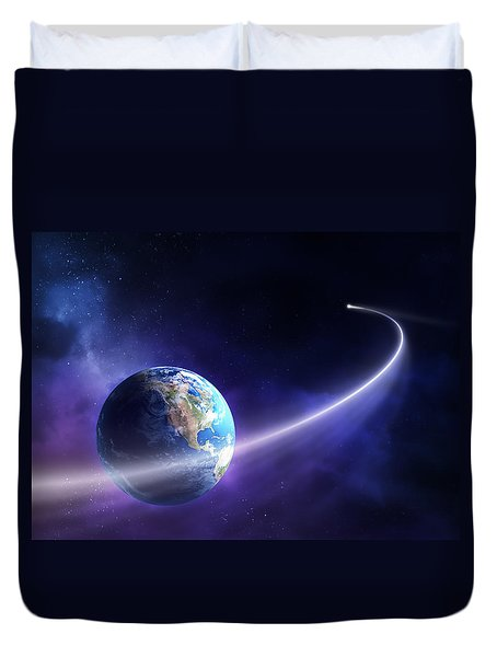 Comet Moving Past Planet Earth Duvet Cover by Johan Swanepoel