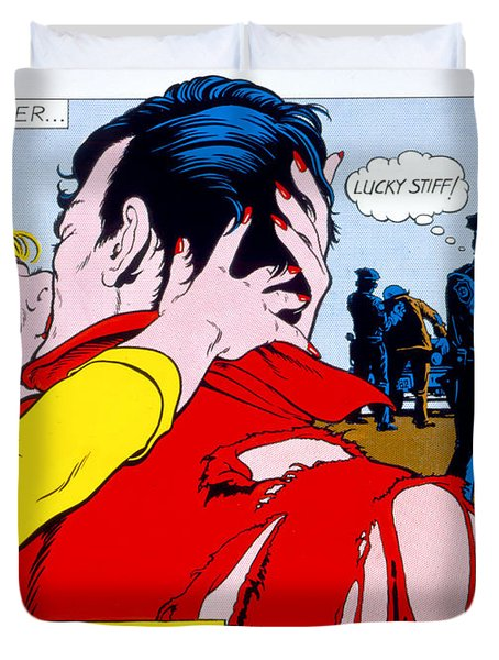 Comic Strip Kiss Duvet Cover by MGL Studio