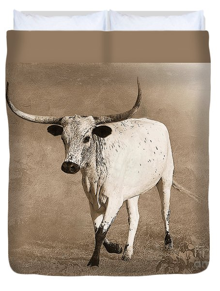 Coming Home In Sepia Duvet Cover by Betty LaRue