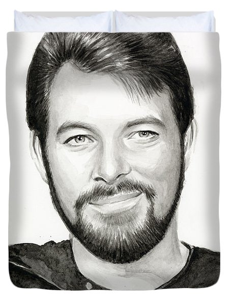 Commander William Riker Star Trek Duvet Cover by Olga Shvartsur