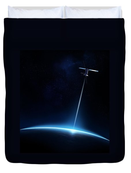 Communication between satellite and earth Duvet Cover by Johan Swanepoel