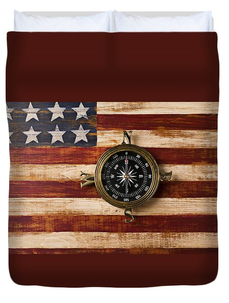 Compass on wooden folk art flag Duvet Cover by Garry Gay
