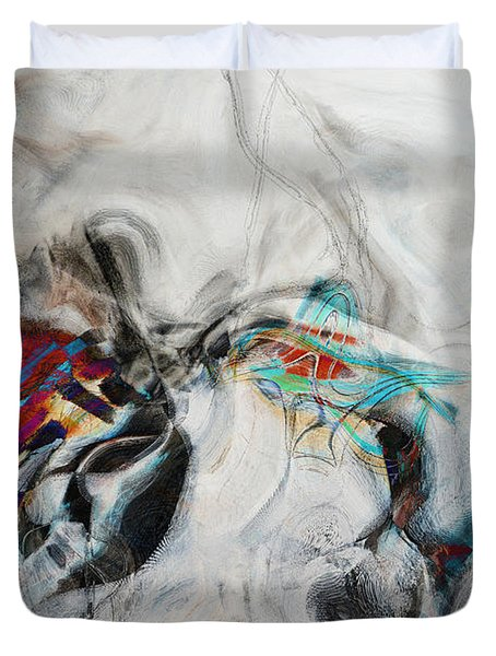 Composition On White Duvet Cover by Andrada Anghel