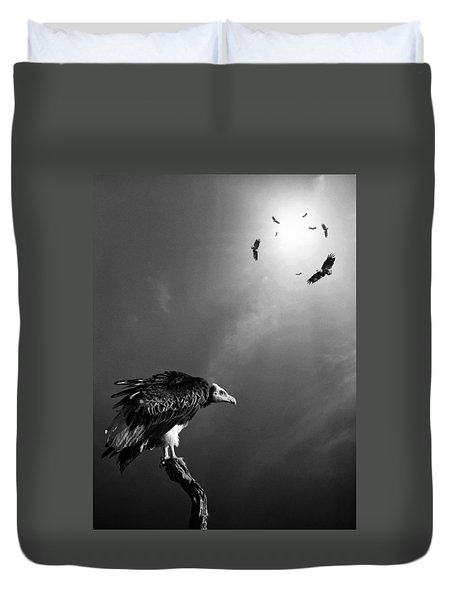 Conceptual - Vultures Awaiting Duvet Cover by Johan Swanepoel