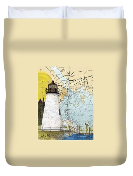 Concord Pt Lighthouse Md Nautical Chart Map Art Cathy Peek Duvet Cover by Cathy Peek