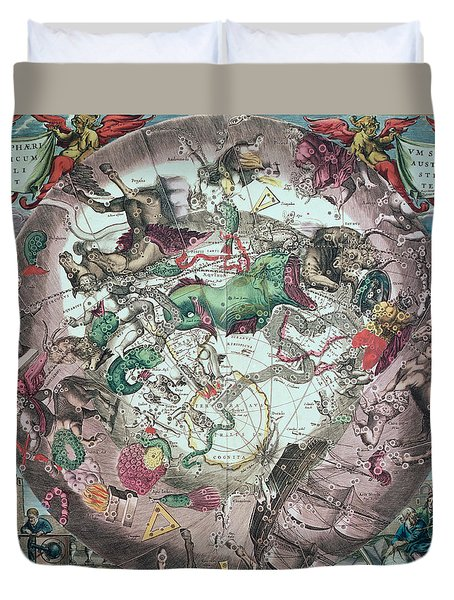 Constellations Of The Southern Hemisphere, From The Celestial Atlas, Or The Harmony Of The Universe Duvet Cover by Andreas Cellarius
