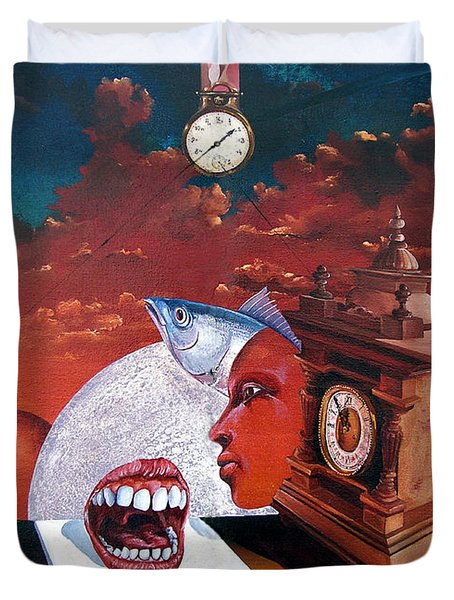 Consumption Of Time  Duvet Cover by Otto Rapp