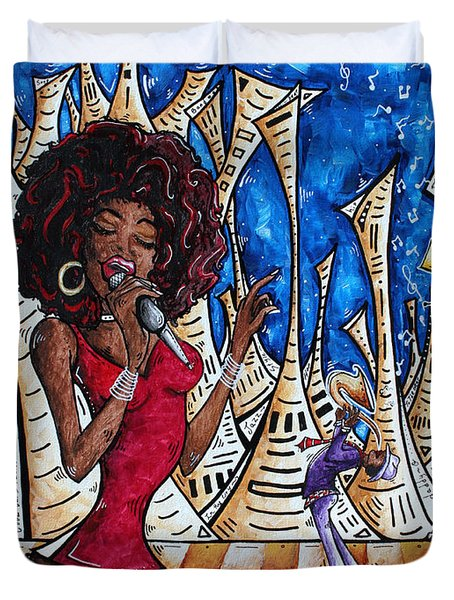 Contemporary New Orleans Jazz Blues Original Painting Singin In The Streets Duvet Cover by Megan Duncanson