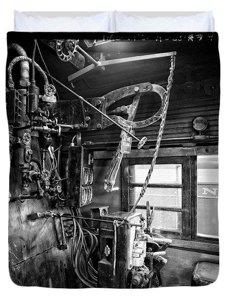 Controls Of Steam Locomotive No. 611 C. 1950 Duvet Cover by Daniel Hagerman