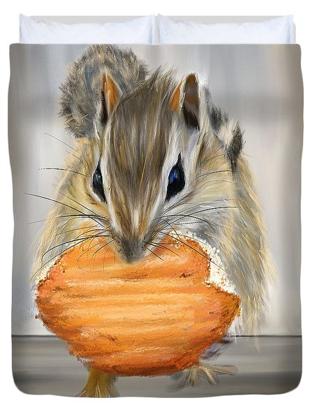 Cookie Time- Squirrel Eating A Cookie Duvet Cover by Lourry Legarde