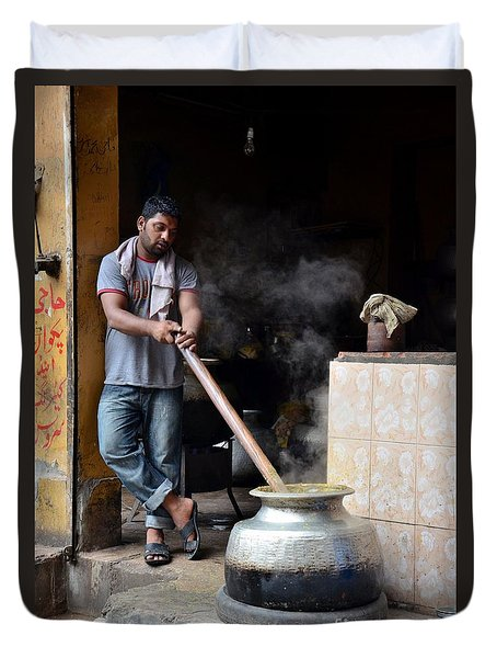 Cooking Breakfast Early Morning Lahore Pakistan Duvet Cover by Imran Ahmed