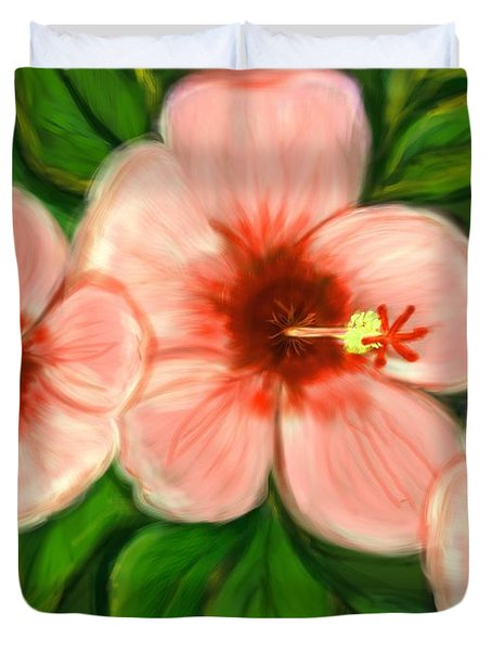 Coral Hibiscus  Duvet Cover by Christine Fournier