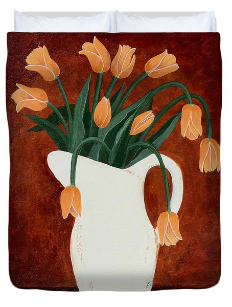 Coral Tulips In A Milk Pitcher Duvet Cover by Barbara Griffin