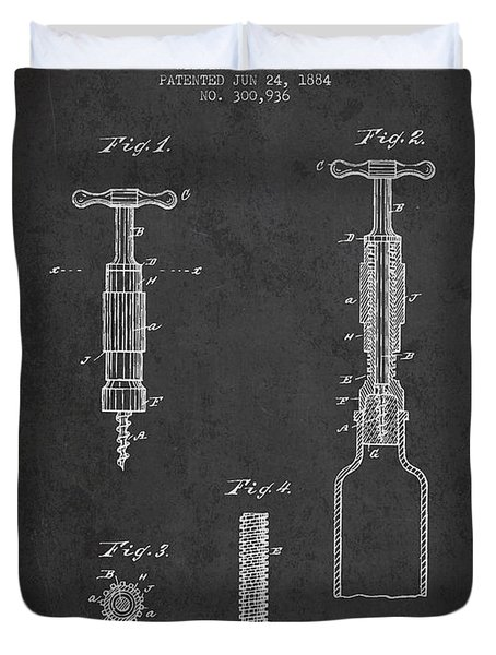 Corkscrew patent Drawing from 1884 Duvet Cover by Aged Pixel
