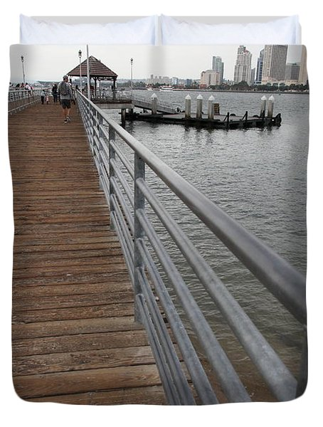 Coronado Pier Overlooking The San Diego Skyline 5d24354 Duvet Cover by Wingsdomain Art and Photography