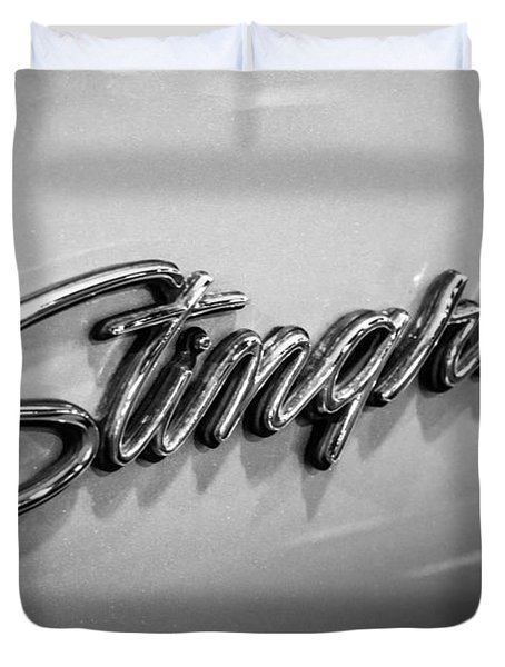 Corvette Stingray Emblem Black And White Picture Duvet Cover by Paul Velgos