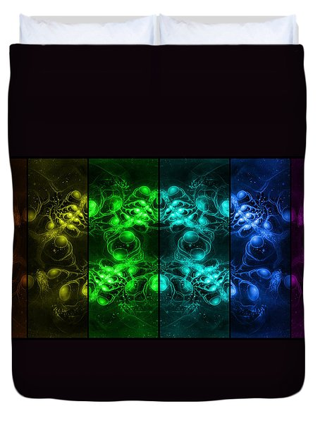 Cosmic Alien Eyes Pride Duvet Cover by Shawn Dall