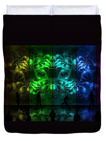 Cosmic Alien Vixens Pride Duvet Cover by Shawn Dall