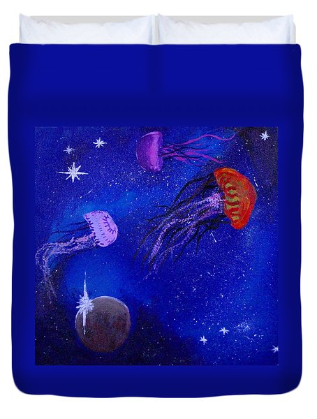 Cosmic Jellyfish Duvet Cover by Andy Lawless