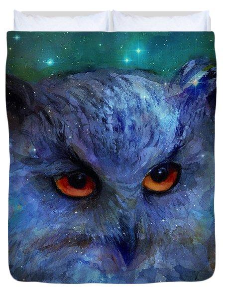 Cosmic Owl Painting Duvet Cover by Svetlana Novikova