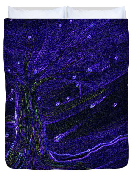 Cosmic Tree Blue Duvet Cover by First Star Art