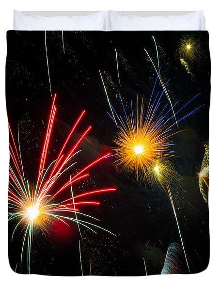 Cosmos Fireworks Duvet Cover by Inge Johnsson