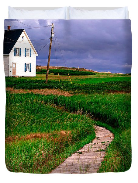 Cottage Among the Dunes Duvet Cover by Edward Fielding
