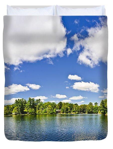 Cottage lake with diving platform and dock Duvet Cover by Elena Elisseeva