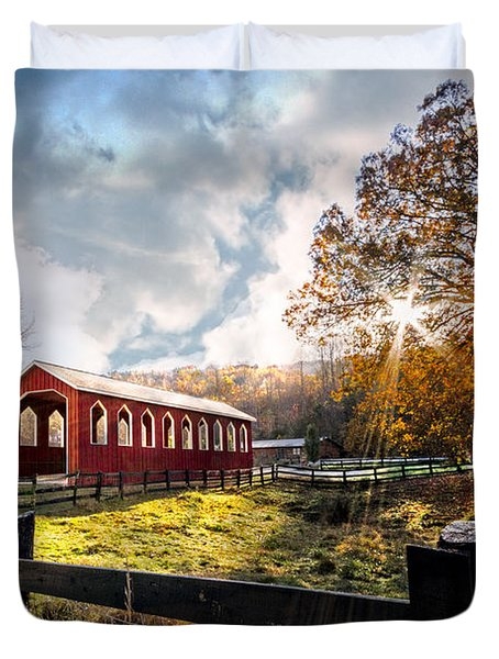 Country Covered Bridge Duvet Cover by Debra and Dave Vanderlaan