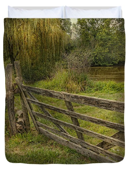 Country - Gate - Rural Simplicity  Duvet Cover by Mike Savad