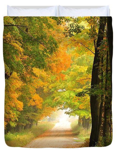 Country Road In Autumn Duvet Cover by Terri Gostola