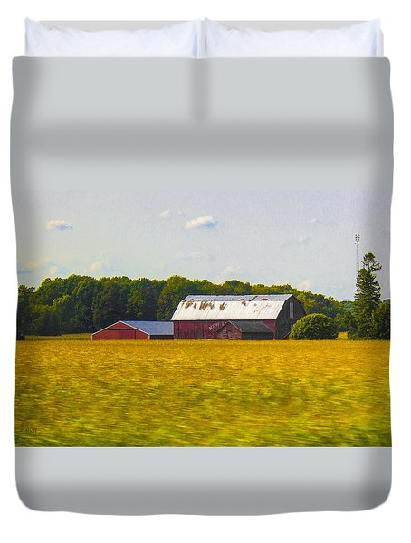 Countryside Landscape With Red Barns Duvet Cover by Ben and Raisa Gertsberg
