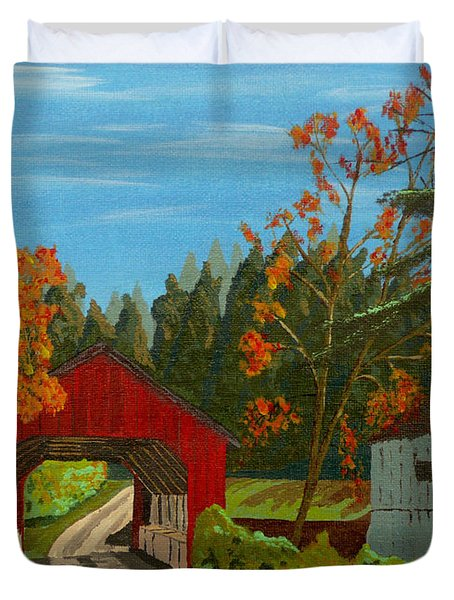 Covered Bridge Duvet Cover by Anthony Dunphy