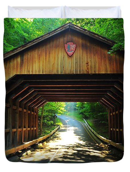 Covered Bridge At Sleeping Bear Dunes National Lakeshore Duvet Cover by Terri Gostola