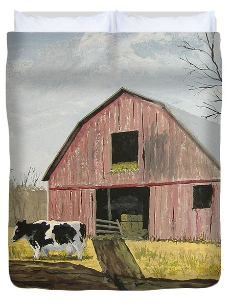 Cow And Barn Duvet Cover by Norm Starks