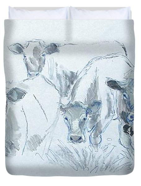 Cow drawing Duvet Cover by Mike Jory