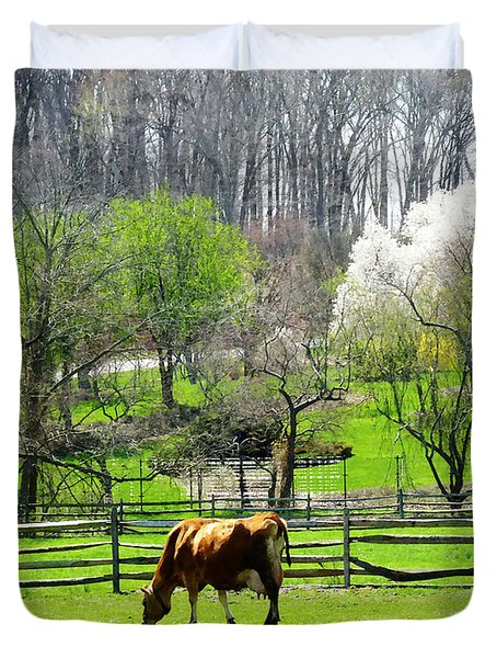 Cow Grazing In Pasture In Spring Duvet Cover by Susan Savad