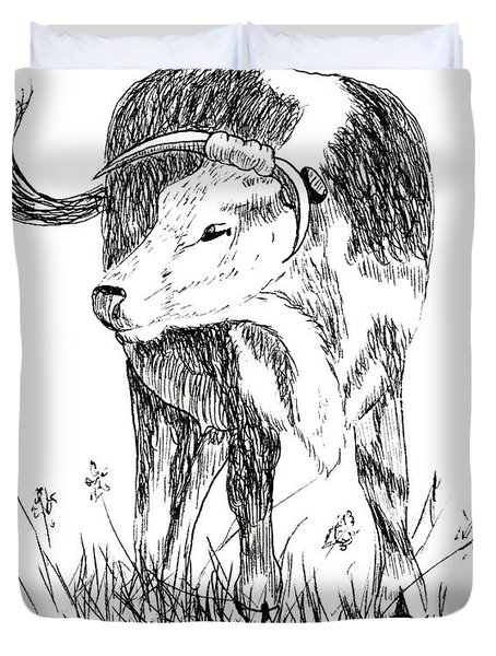 Cow in Pen and Ink Duvet Cover by Rose Santuci-Sofranko