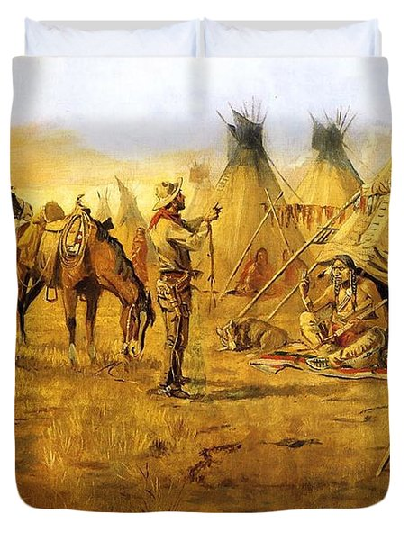 Cowboy Bargaining for the Indian Girl Duvet Cover by Charles Russell