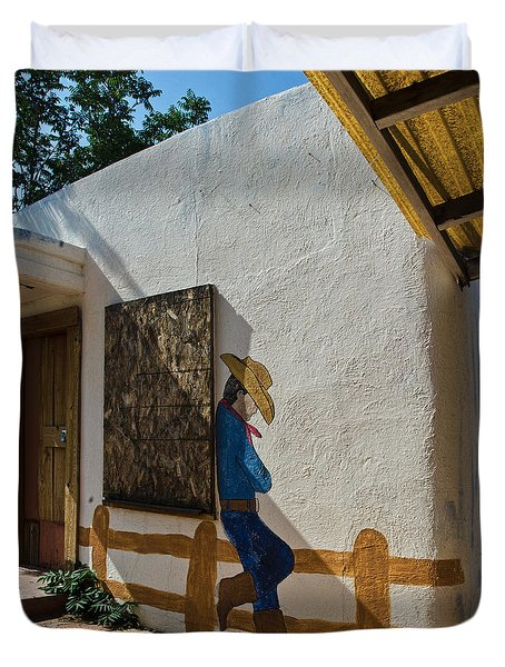 Cowboy Mural In Benson Arizona Duvet Cover by Dave Dilli