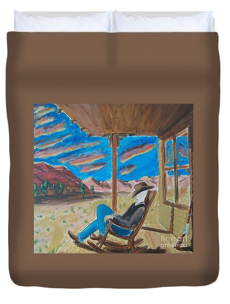 Cowboy Sitting in Chair at Sundown Duvet Cover by John Lyes