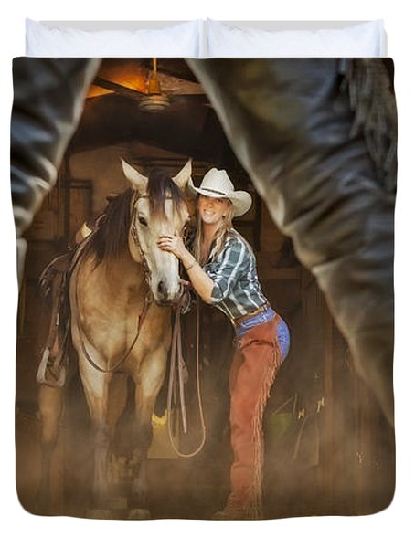 Cowgirl and Cowboy Duvet Cover by Susan Candelario