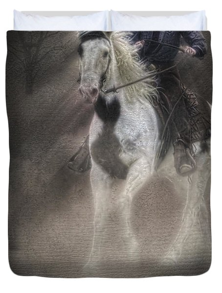 Cowgirl and Knight Duvet Cover by Susan Candelario