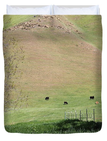 Cows Along The Rolling Hills Landscape of The Black Diamond Mines in Antioch California 5D22319 Duvet Cover by Wingsdomain Art and Photography