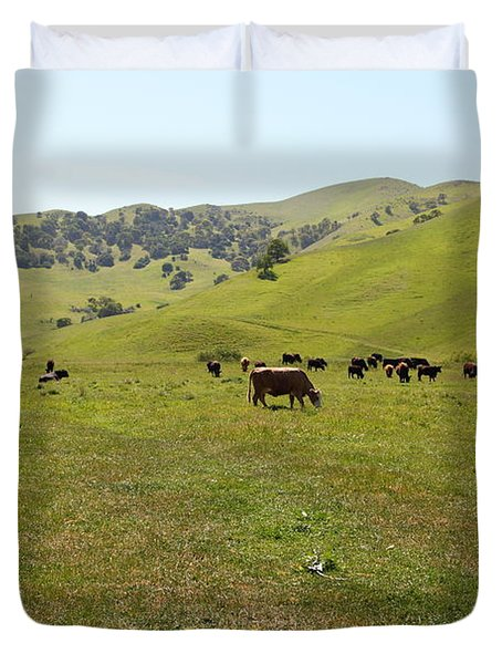 Cows Along The Rolling Hills Landscape of The Black Diamond Mines in Antioch California 5D22327 Duvet Cover by Wingsdomain Art and Photography