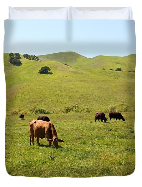 Cows Along The Rolling Hills Landscape of The Black Diamond Mines in Antioch California 5D22350 Duvet Cover by Wingsdomain Art and Photography