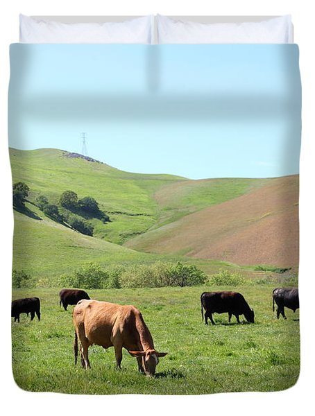Cows Along The Rolling Hills Landscape of The Black Diamond Mines in Antioch California 5D22355 Duvet Cover by Wingsdomain Art and Photography