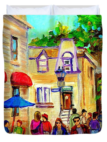 Cozy Dinner Under Blue Umbrella Summer Stroll Prince Arthur Montreal Paintings Carole Spandau Duvet Cover by Carole Spandau