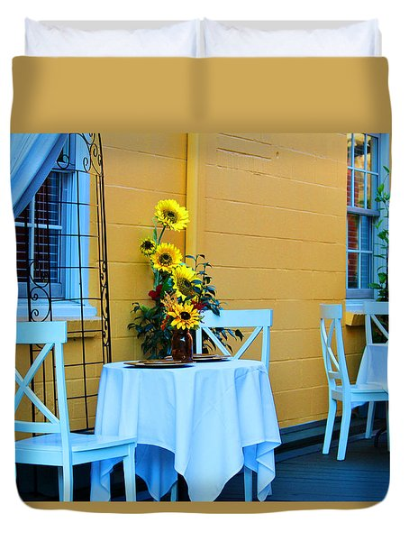Cozy Table For Two Duvet Cover by Cynthia Guinn